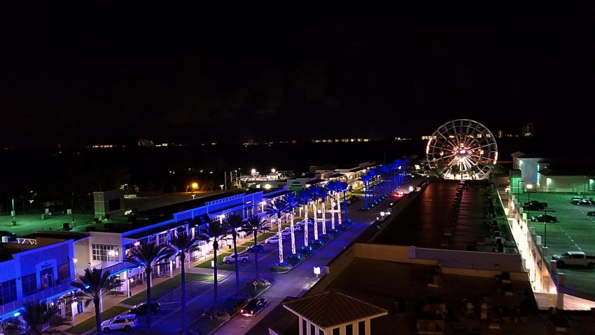 the wharf in gulf shores at night