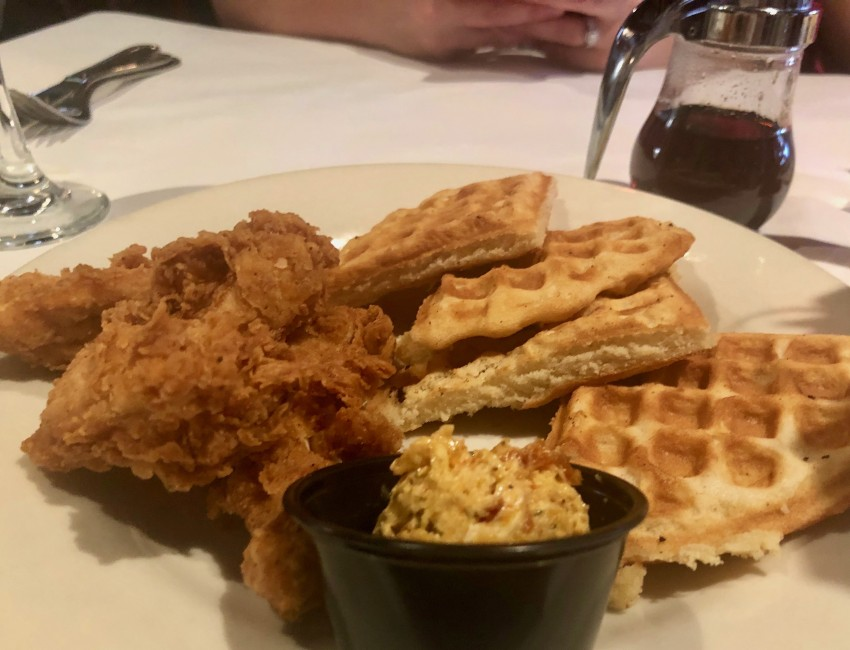 chicken and waffles from weidmanns Mississippi