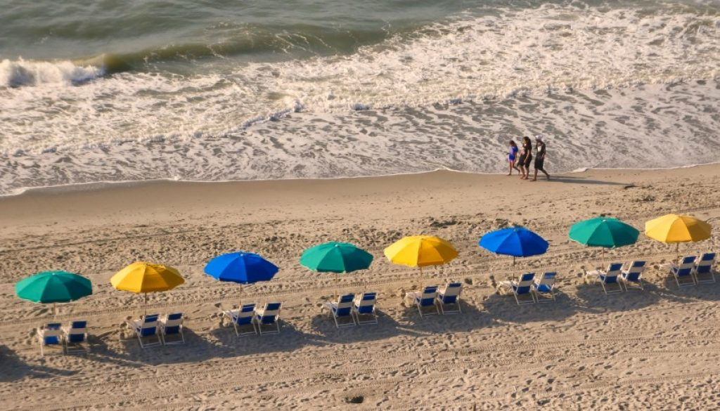 Myrtle Beach umbrellas by the ocean