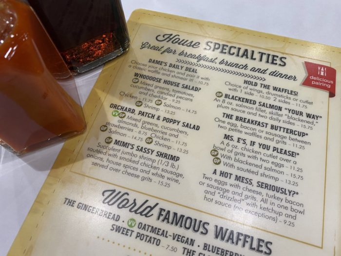 dames chicken and waffles menu North Carolina