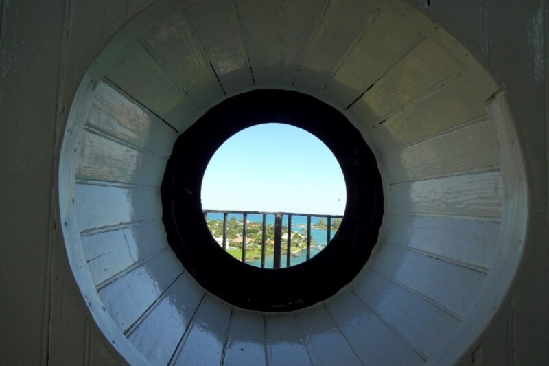 peering out of the Jupiter lighthouse