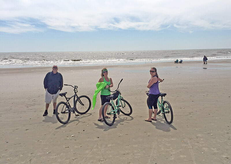 riding bikes on the beach in south Carolina