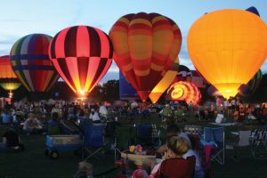 hot air balloons lit up in Decatur