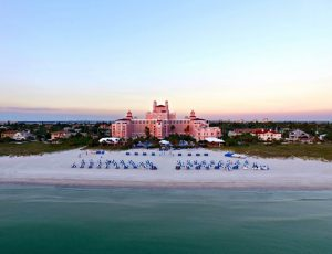 aerial shot of the don cesar hotel